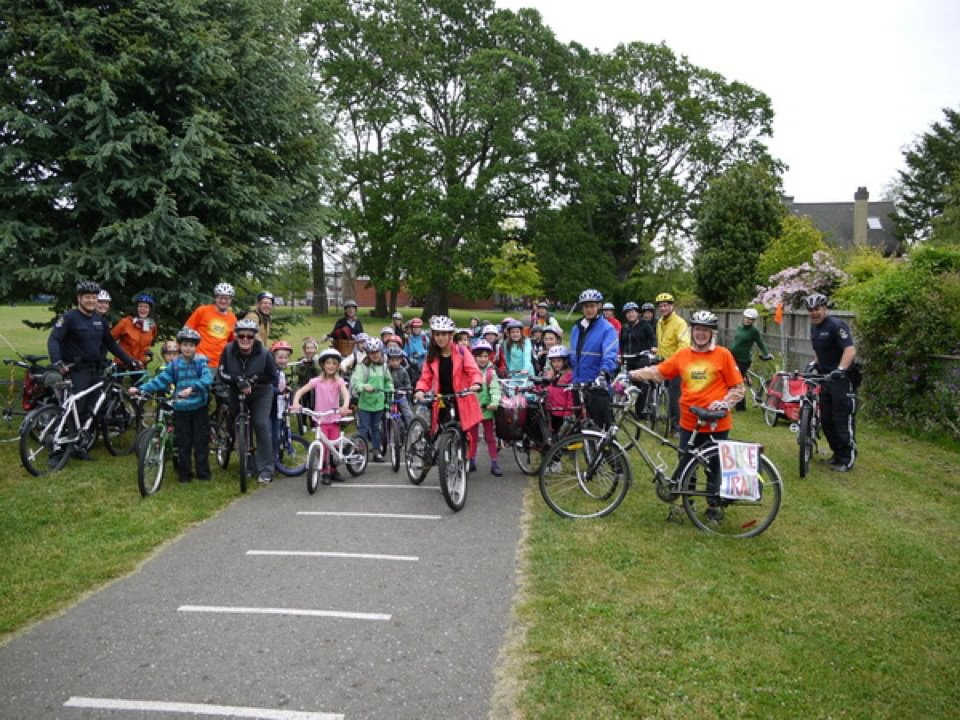 Bike train at Ecole Willows School