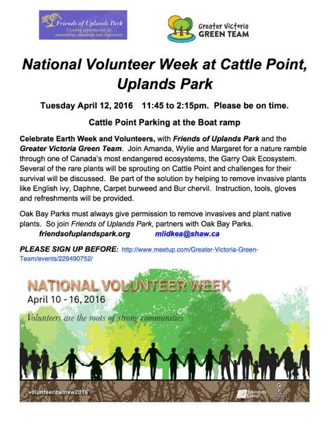 2016 Apr 12 posterNational Volunteer Week at Cattle Point