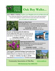 "Jane's Walks in Oak Bay: ""The Prospect"" proposed heritage conservation area @ TBA upon registration, limited to 20."
